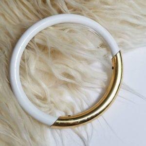 VINTAGE 💫White & Gold Minimalist Bangle Bracelet
